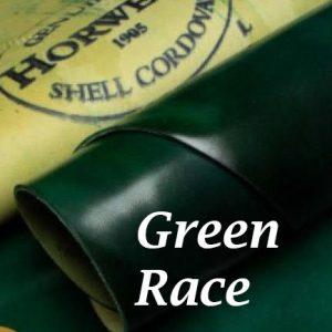 Green Race shell cordovan Handpainted  patina