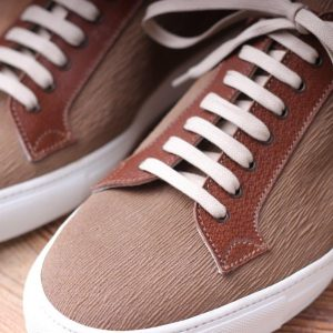 Calcei  willow grain suede  tortora and pig skin brown