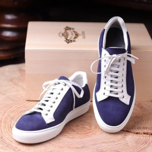 Calcei  willow grain Navy suede   and pig-skin white