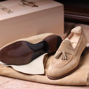 Simposio  a  Tassel loafer  in reverse baby calf on  B02 last
