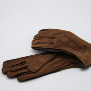 Gloves in reverse suede tan and dark brown goat and Cashmere lining
