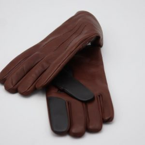 Lamb Gloves in brown, with index and middle finger in black color, suitable for mobile phone use